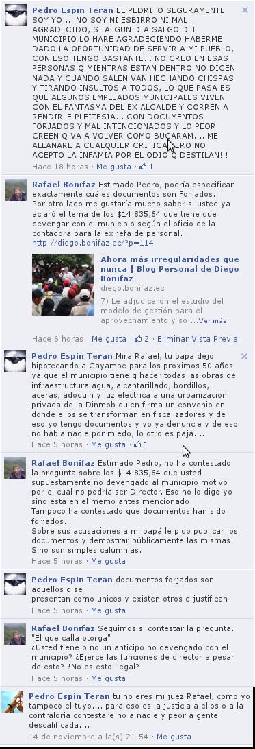 Discución Rafael Bonifaz Pedro Espín Facebook